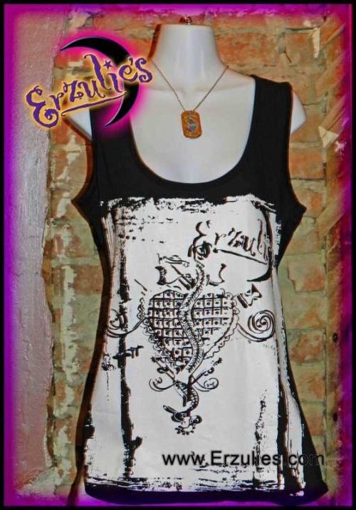 Voodoo Shop T-Shirts ~ Paint Brush Style Veve Art! New Orleans Voodoo Shop Couture Tank Tops for Ladies exclusively at Erzulie's Authentic Voodoo in New Orleans. Deep cut, hand-painted Veve Art Tank Tops on black, organic cotton for the Ladies!