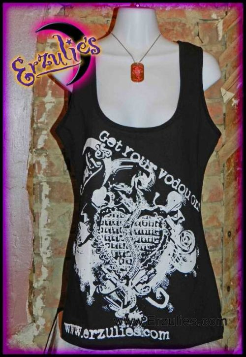 Voodoo Shop T-Shirts ~ Paint Sponge Style Veve Art! New Orleans Voodoo Shop Couture Tank Tops for Ladies exclusively at Erzulie's Authentic Voodoo in New Orleans. Deep cut, hand-painted Veve Art Tank Tops on black, organic cotton for the Ladies!